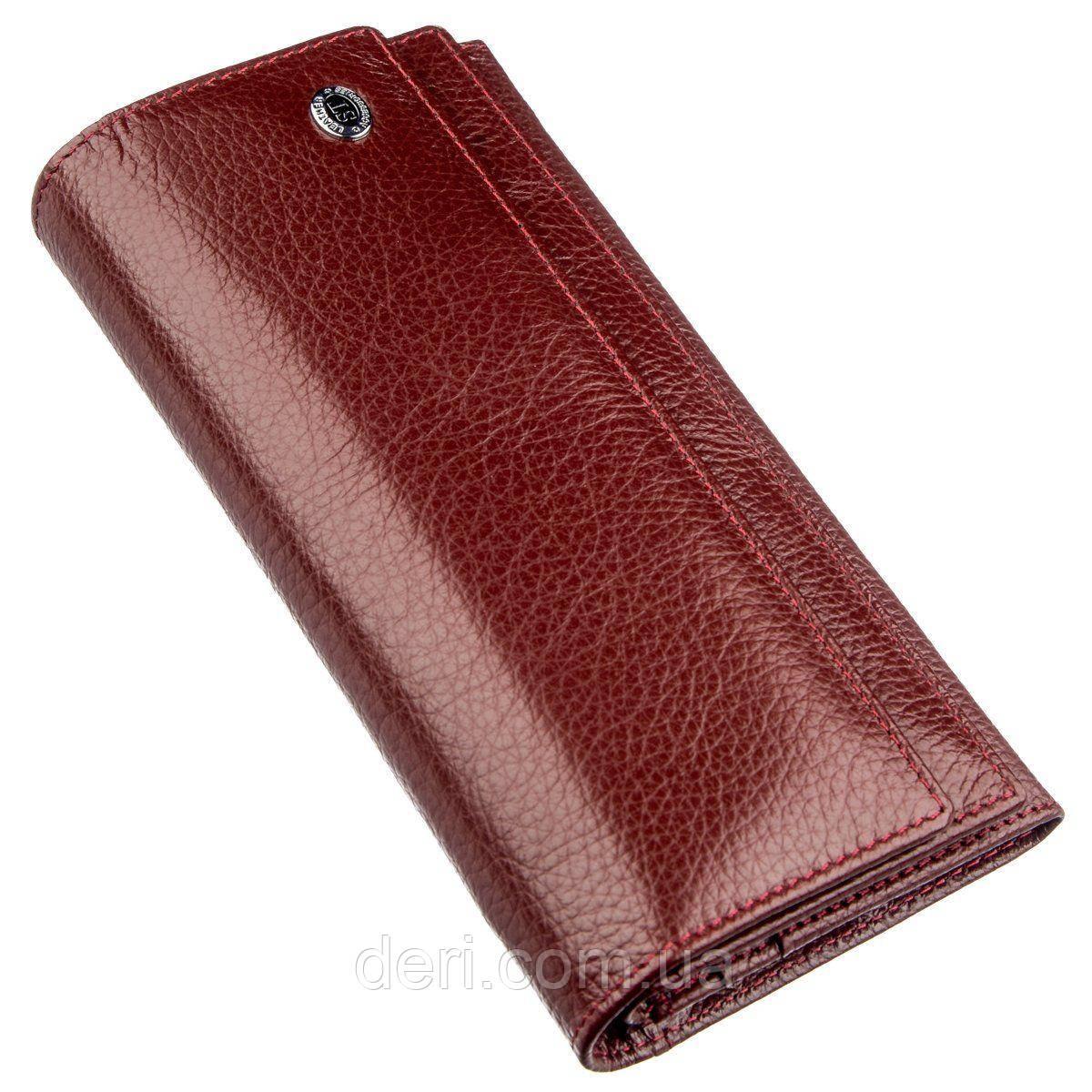 Женский кошелек с монетницей на молнии темно-красный