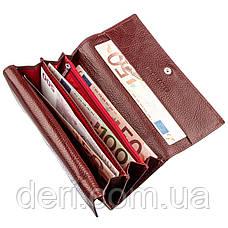 Женский кошелек с монетницей на молнии темно-красный, фото 3