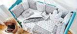 Постельный комплект в кроватку Облако (защитные бортики, подушка, одеяло)розовые звездочки, фото 5