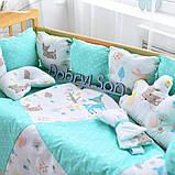 Постельный комплект в кроватку Облако (защитные бортики, подушка, одеяло)розовые звездочки, фото 7