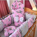 Постельный комплект в кроватку Облако (защитные бортики, подушка, одеяло)розовые звездочки, фото 8