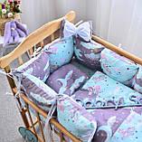 Постельный комплект в кроватку Облако (защитные бортики, подушка, одеяло)розовые звездочки, фото 9