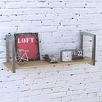 Полка PL-1-18 Loft Design Дуб Борас 112 см Серебристый металл