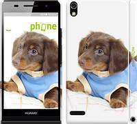 "Чехол на Huawei Ascend P6 Коричневый щенок на белом фоне ""141c-39"""
