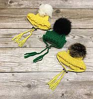 Шапка для собак ручной вязки с бубоном и отворотом (Желтый)