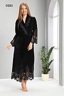 Женский черный халат ns 0383 siyah бамбук велюр (L/XL)