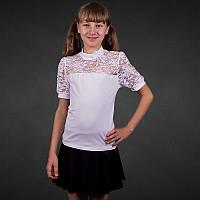 Белая блуза для девочек школьная хлопок+гипюр р.30,32,34,36,38,40 короткий рукав