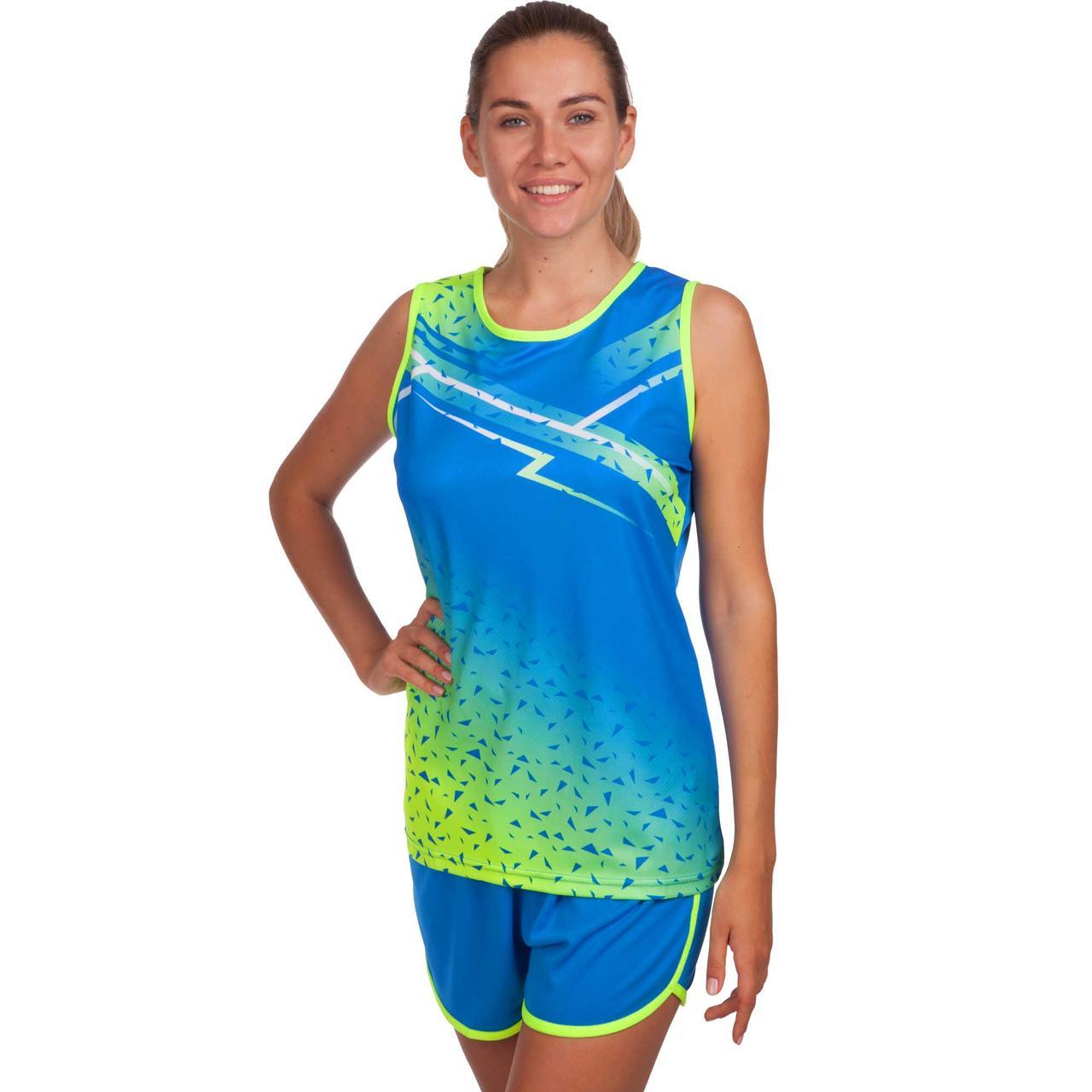 Форма для легкой атлетики женская (синий-салатовый)
