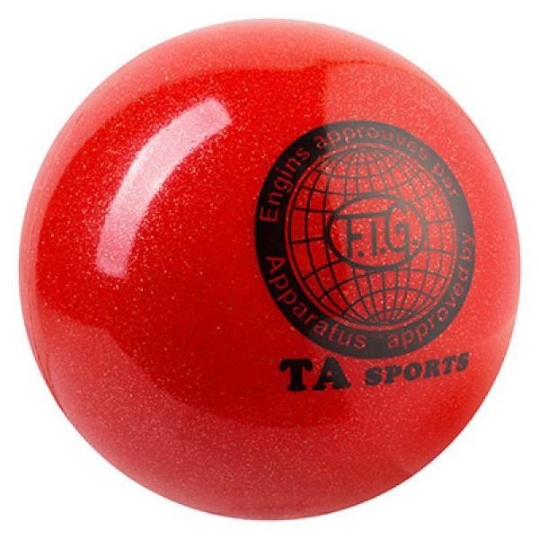 Мяч гимнастический TA SPORT, 400грамм, 19 см, глиттер, красный