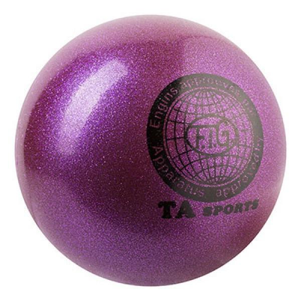 Мяч гимнастический TA SPORT, 400грамм, 19 см, глиттер, фиолетовый