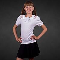Белая блуза для девочек школьная хлопок р.30,32,34,36,38,40 короткий рукав