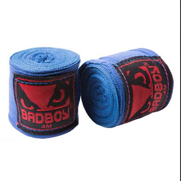 Бинт боксерский 4м, BadBoy, пара, синий, красный, черный