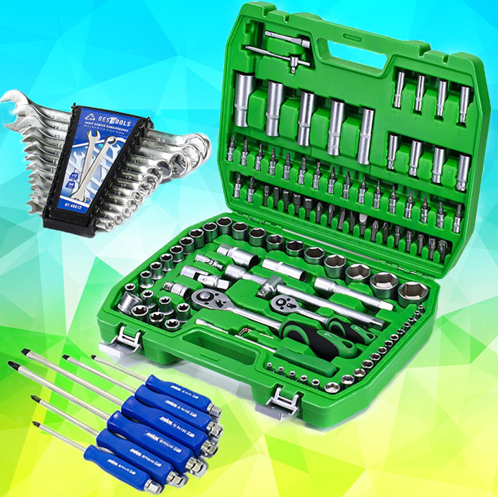 Три Набора инструментов   (108 ед. ET-6108SP + набор ключей 12 ед. + Набор ударных отверток 6 шт)