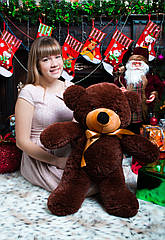 """Плюшевый медведь """"Нестор"""" Шоколадный 80 см"""