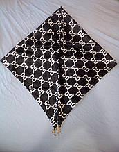 Косынка атласная платок шелковый с подвесками. Черная