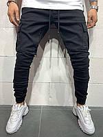 Мужские джинсы черного цвета на манжетах