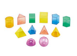 Набор прозрачных объемных геометрических форм  8  см  Edx Education ( 12 шт)