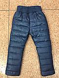 Теплі зимові дитячі штани на гумці плащівка чорна і синя на синтепон 200 розмір:98,104,110,116,122, фото 2