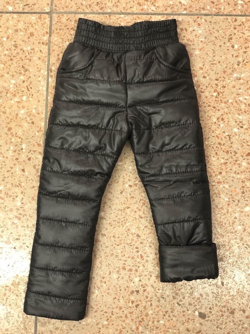 Теплые зимние детские штаны на резинке плащевка чёрная и синяя на синтепон 200 размер:98,104,110,116,122