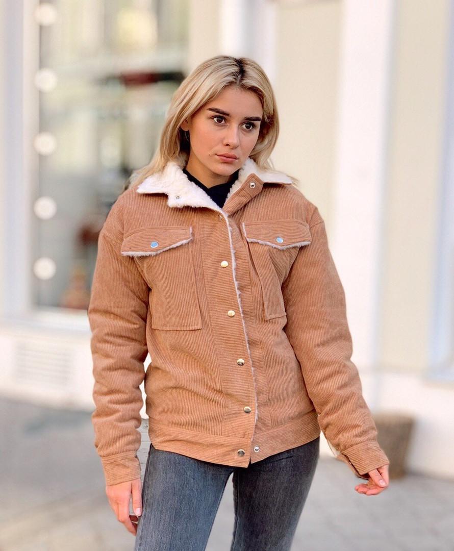 Женская вельветовая куртка на меху  ИК1913