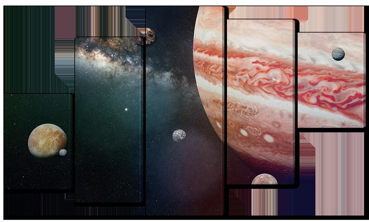 Модульная картина Interno Эко кожа Спутники юпитера 158х90см (A3760XL)