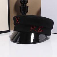 Женский картуз, кепи, фуражка с лаковым козырьком RB черный