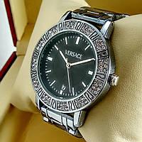 Женские кварцевые наручные часы Versace A111 серебряного цвета с черным циферблатом с датой на метал браслете