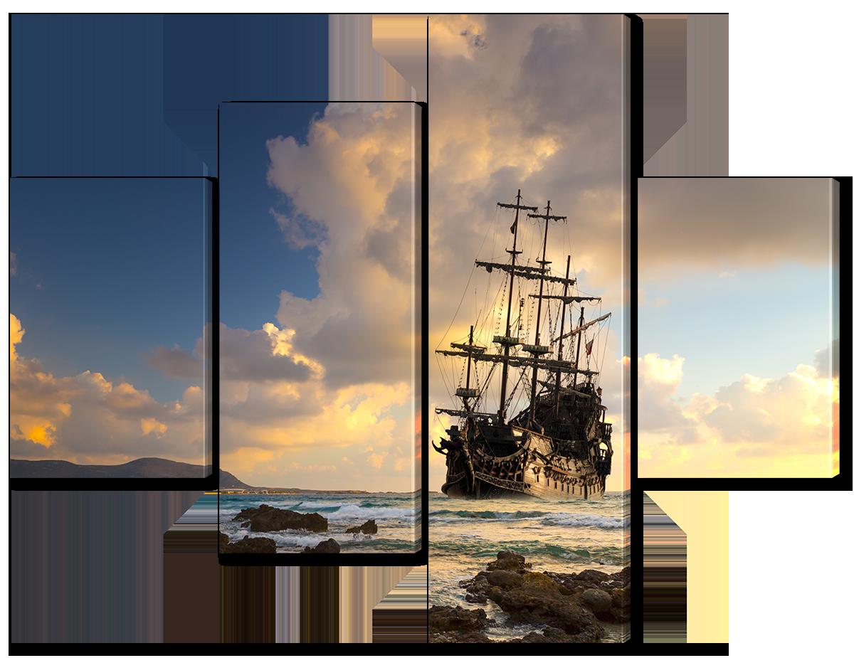 Модульная картина Interno Эко кожа Корабль у побережья 106x78см (A3769S)