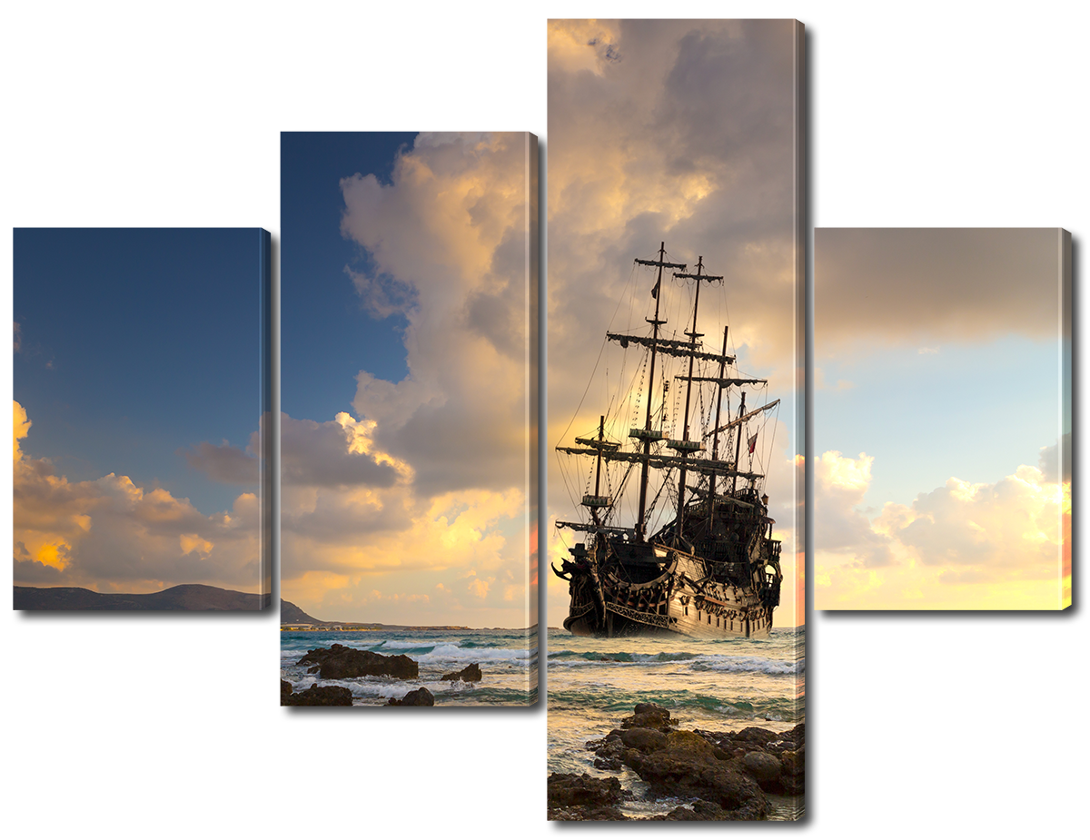 Модульная картина Interno Эко кожа Корабль у побережья 146x109см (A3769L)