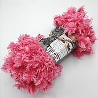 Фантазийная меховая пряжа Puffy Fur, цвет ярко розовый