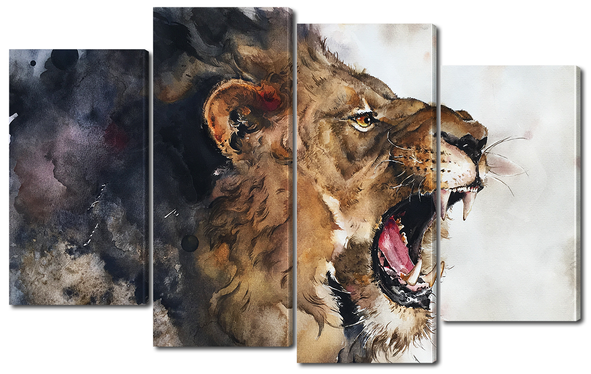 Модульная картина Interno Холст Рисунок льва 126x77см (R3772L)