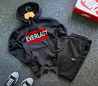 Спортивный костюм теплый на флисе черного цвета с капюшоном и литерами