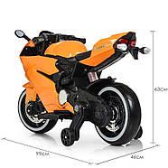 Дитячий електромотоцикл M 4104EL-7 Помаранчевий Гарантія якості Швидка доставка, фото 5
