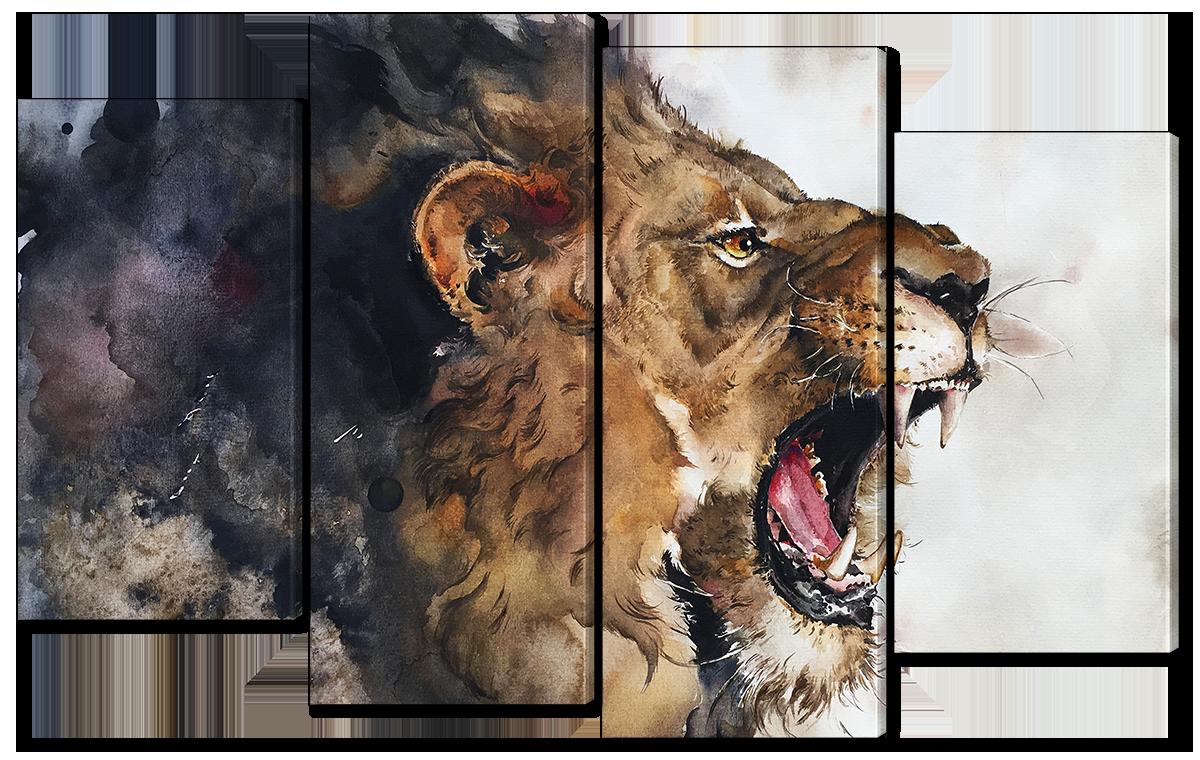 Модульная картина Interno Эко кожа Рисунок льва 166x120см (A3772XXL)