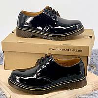 Ботинки женские Dr. Martens 1461 Patent (черные) Top replic