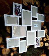 Деревянная эко мультирамка, коллаж #212 белый, венге, орех, чёрный.