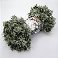 Фантазийная меховая пряжа Puffy Fur, цвет зеленый