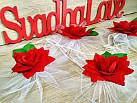Украшение свадебных машин Роза на ручку. Цена за 1 штучку. Цвет красный.