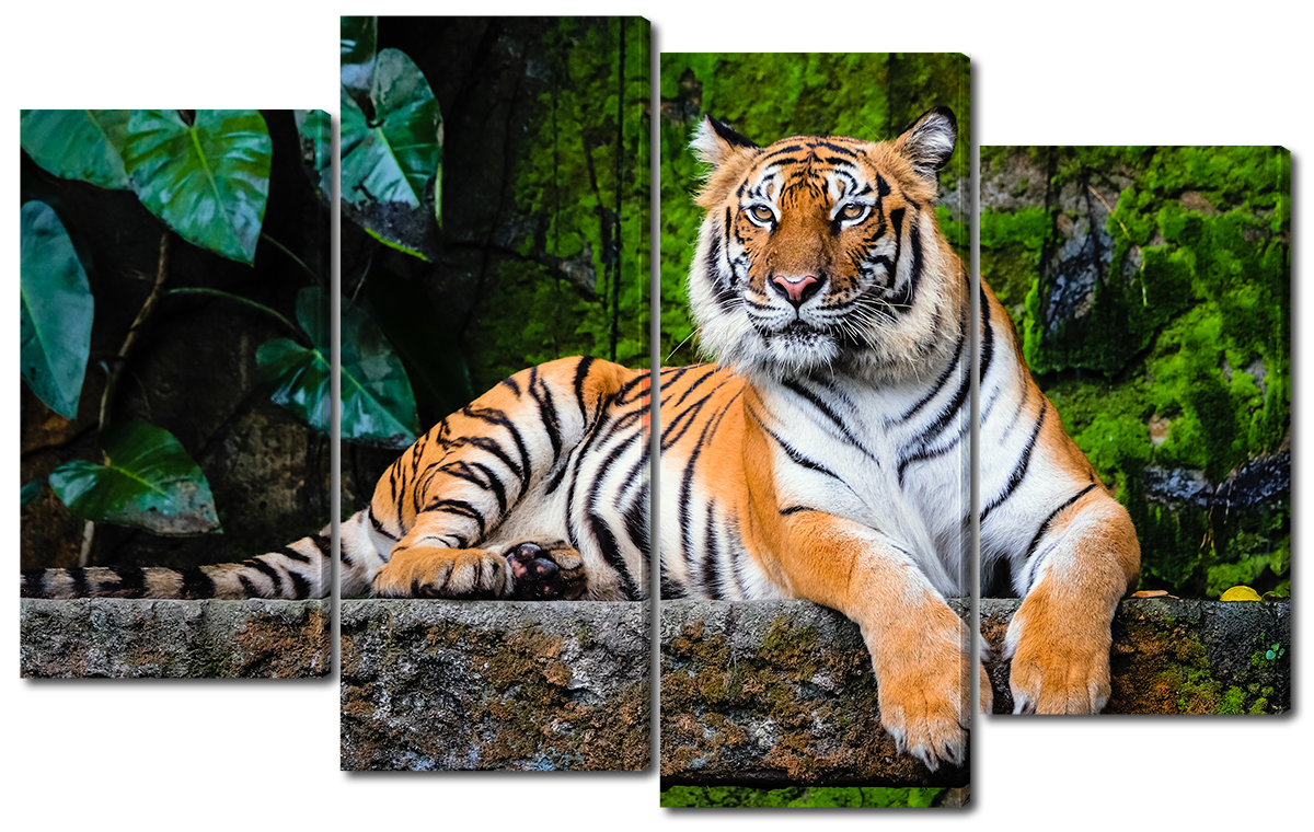Модульная картина Interno Эко кожа Бенгальский тигр 166x120см (A3781XXL)