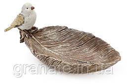Декоративное блюдо Лист с декором Птичка, цвет - золотой, 25см
