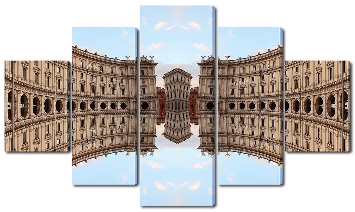 Модульная картина Interno Холст Отражение архитектуры  185х106см (R3782XXL)