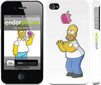"""Чехол на iPhone 4 Симпсоны, Гомер с яблоком """"937c-15"""""""