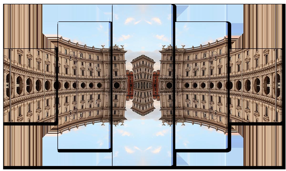 Модульная картина Interno Эко кожа Отражение архитектуры 158х90см (A3782XL)