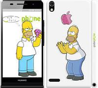 """Чехол на Huawei Ascend P6 Симпсоны, Гомер с яблоком """"937c-39"""""""