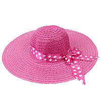 Пляжная женская шляпа с ленточкой в горошек розовый 150211