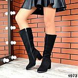 Комфортные демисезонные сапожки на каблуке кожаные черные, фото 8