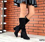 Комфортные демисезонные сапожки на каблуке кожаные черные, фото 6