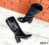 Комфортные демисезонные сапожки на каблуке кожаные черные, фото 2