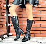 Комфортные демисезонные сапожки на каблуке кожаные черные, фото 4