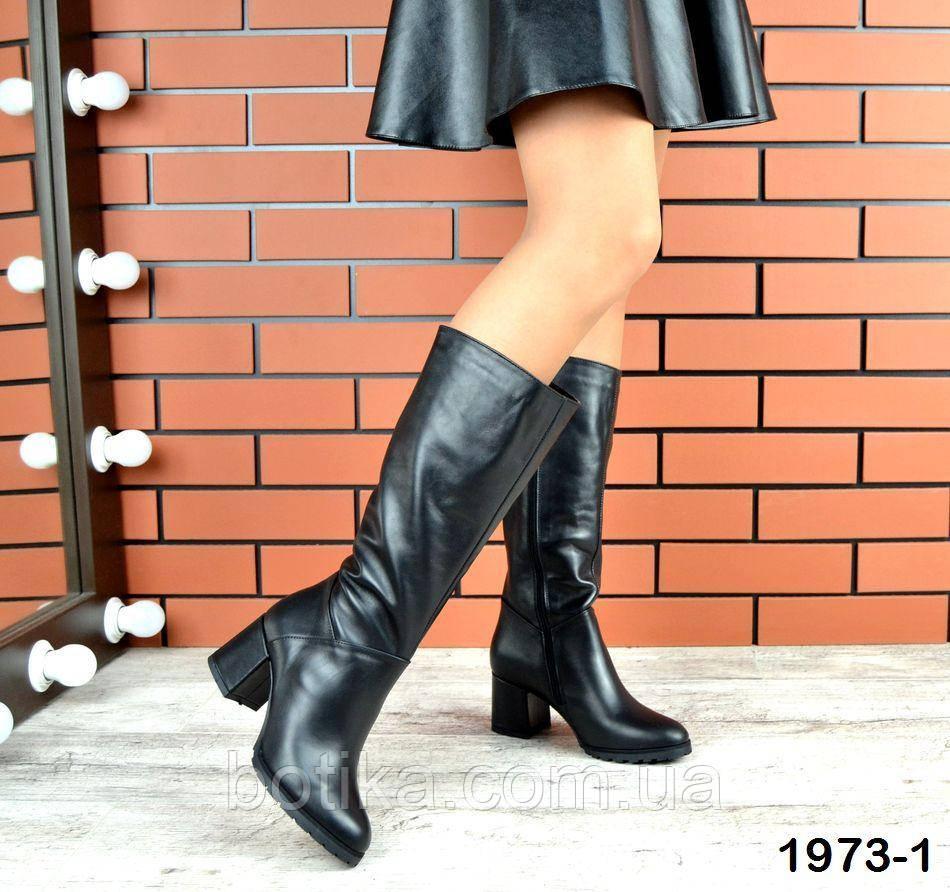 Комфортные демисезонные сапожки на каблуке кожаные черные